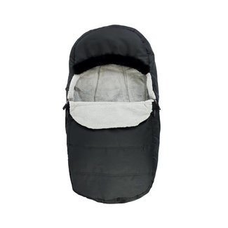 Petit Coulou Petit Coulou - Protective Cover for Stroller and Sleigh 2 in 1, Black - Grey Fur Trim