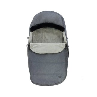 Petit Coulou Petit Coulou - Protective Cover for Stroller and Sleigh 2 in 1, Dark Grey - Black Fur Trim
