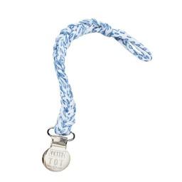 Petit Tot Petit Tot - Jersey Braided Pacifier Clip, Blue Flowers
