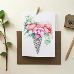 Katrinn Pelletier Illustration Katrinn Pelletier - Greeting Card, Peony Cone