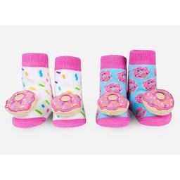 Waddle Waddle - Pack of 2 Pairs of Rattle Socks, Doughnut