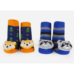 Waddle Waddle - Pack of 2 Pairs of Rattle Socks, Racoon
