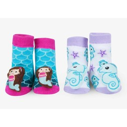 Waddle Waddle - Pack of 2 Pairs of Rattle Socks, Mermaid