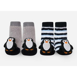 Waddle Waddle - Pack of 2 Pairs of Rattle Socks, Penguins