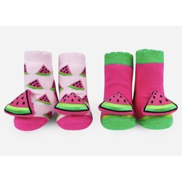 Waddle Waddle - Pack of 2 Pairs of Rattle Socks, Watermelon