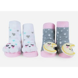 Waddle Waddle - Pack of 2 Pairs of Rattle Socks, Moon and Clouds