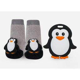Waddle Waddle - Set of Socks and Teething Toy, Penguins