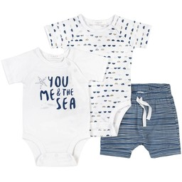 Firsts - Knitted Shorts and Rompers Set, White with Blue Pattern