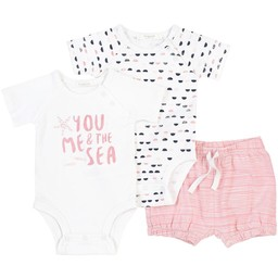 Firsts - Knitted Shorts and Rompers Set, White with Pink Pattern