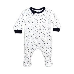 Coccoli - Footie Pyjama, Cream Navy Neppy Print