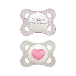 MAM MAM - Love and Affection Pacifier, J'aime Maman, Pink, 0-6 months