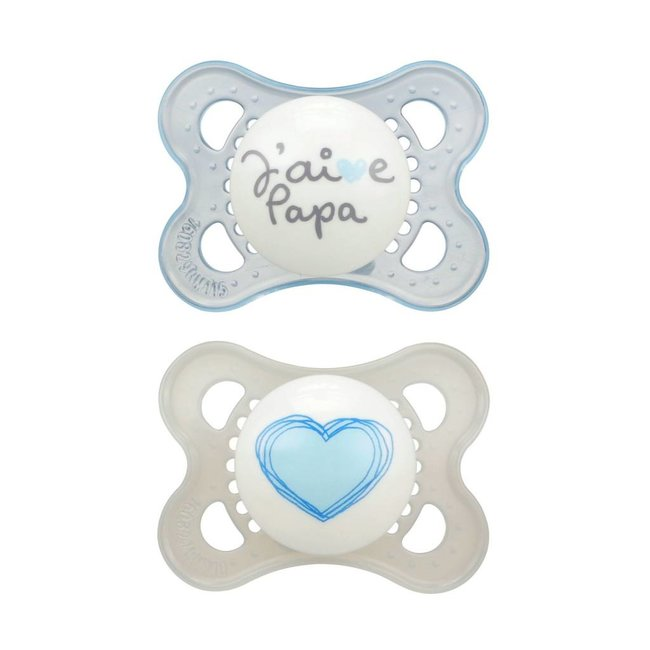 MAM MAM - Love and Affection Pacifier, J'aime Papa, Blue, 0-6 months