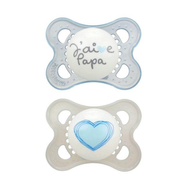 MAM MAM - Suces Amour et Affection, J'aime Papa, Bleu, 0-6 mois