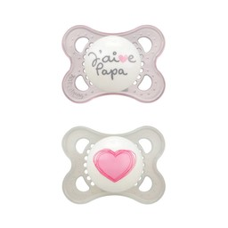 MAM MAM - Love and Affection Pacifier, J'aime Papa, Pink, 0-6 months