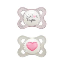 MAM MAM - Love and Affection Pacifier, J'aime Papa, Pink, 0-6 months
