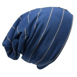 L&P L&P - Boston Cotton Beanie, Blue Grey Stripes