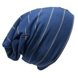 L&P L&P - Tuque de Coton Boston, Rayée Bleu Gris