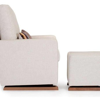 Monte Design DEMO SALE - Monte - Como Glider Chair, Walnut Wood Base, Beach Fabric, Missoni Cushion