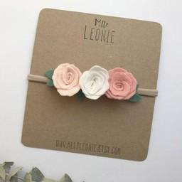 Mlle Léonie Mlle Léonie - Bandeau avec  Trois Fleurs, Rose Pâle, Crème, Rose Pêche