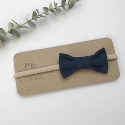 Mlle Léonie Mlle Léonie - Fabric Bow Headband, Navy Blue