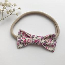 Mlle Léonie Mlle Léonie - Fabric Bow Headband, Purple and Fushia Flowers