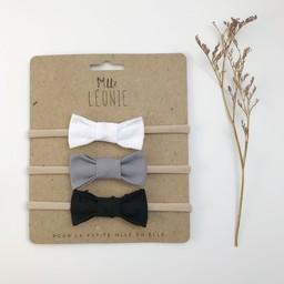 Mlle Léonie Mlle Léonie - Fabric Bow Headband Trio, White Tufts, Light Grey, Black Tufts