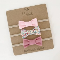 Mlle Léonie Mlle Léonie - Fabric Bow Headband Trio, Light Pink, Little Red Flowers, Vintage Pink