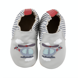 Robeez Robeez - Soft Soles Shoes, Helicopter, Grey Leather