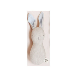 Ouistitine Ouistitine - Bunny Linen Rattle, Blue