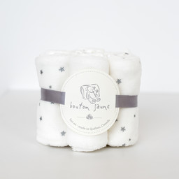 Bouton Jaune Bouton Jaune - Set of 7 Velvet Ratine Washclothes, Cream Stars