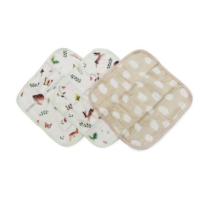 Loulou Lollipop Loulou Lollipop - Set of 3 Bamboo Muslin Washcloths, Woodland Gnome