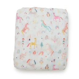 Loulou Lollipop Loulou Lollipop - Bamboo Fitted Crib Sheet, Unicorn Dream