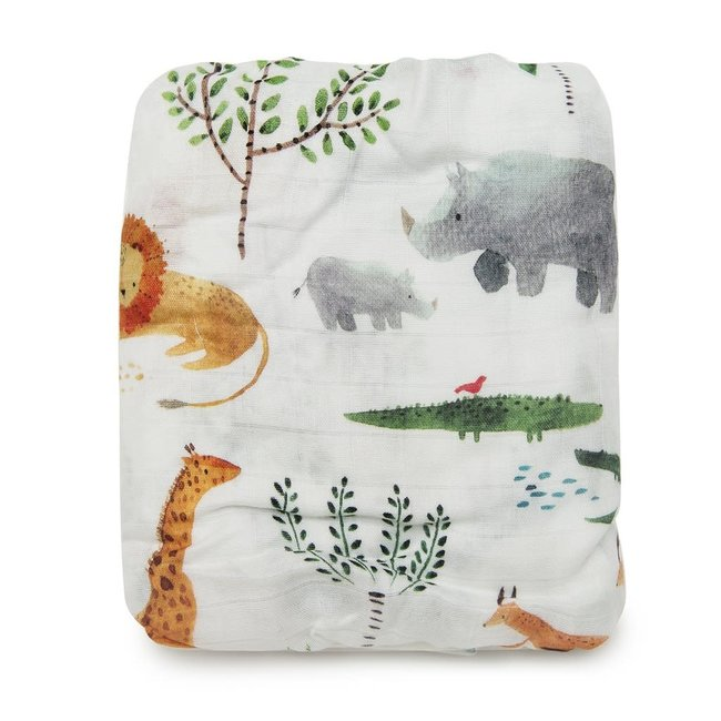 Loulou Lollipop Loulou Lollipop - Bamboo Fitted Crib Sheet, Safari