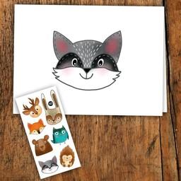 Pico Tatouages Temporaires Pico Tatoo - Carte de Souhait/Greeting Card, Les Animaux de la Forêt/Forest Animals