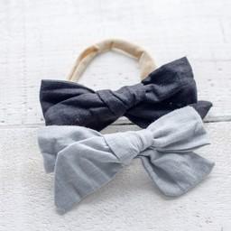 Mini Bretzel Mini Bretzel - Headband Duo with Linen Bows, Sky and Black