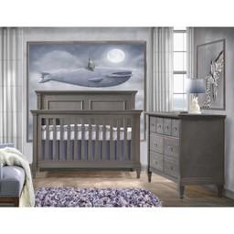 Natart Juvenile DEMO SALE - NATART JUVENILE - Belmont Set Grigio Convertible Bed 5-in-1 and Double Dresser