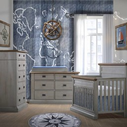 Natart Juvenile DEMO SALE - NATART - Cortina Set Chalet Grey Convertible Bed 5-in-1 and Double Dresser