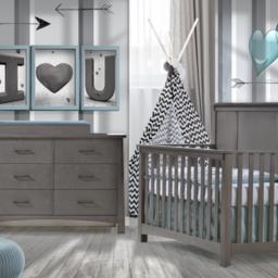 Natart Juvenile DEMO SALE - NATART NEST - Bruges Set Grigio Convertible Bed 5-in-1 and Double Dresser