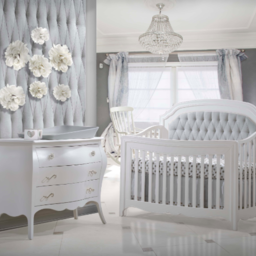 Natart Juvenile DEMO SALE - NATART JUVENILE - Bella White Set Bed with Tufted Panel Linen Grey and Double Dresser