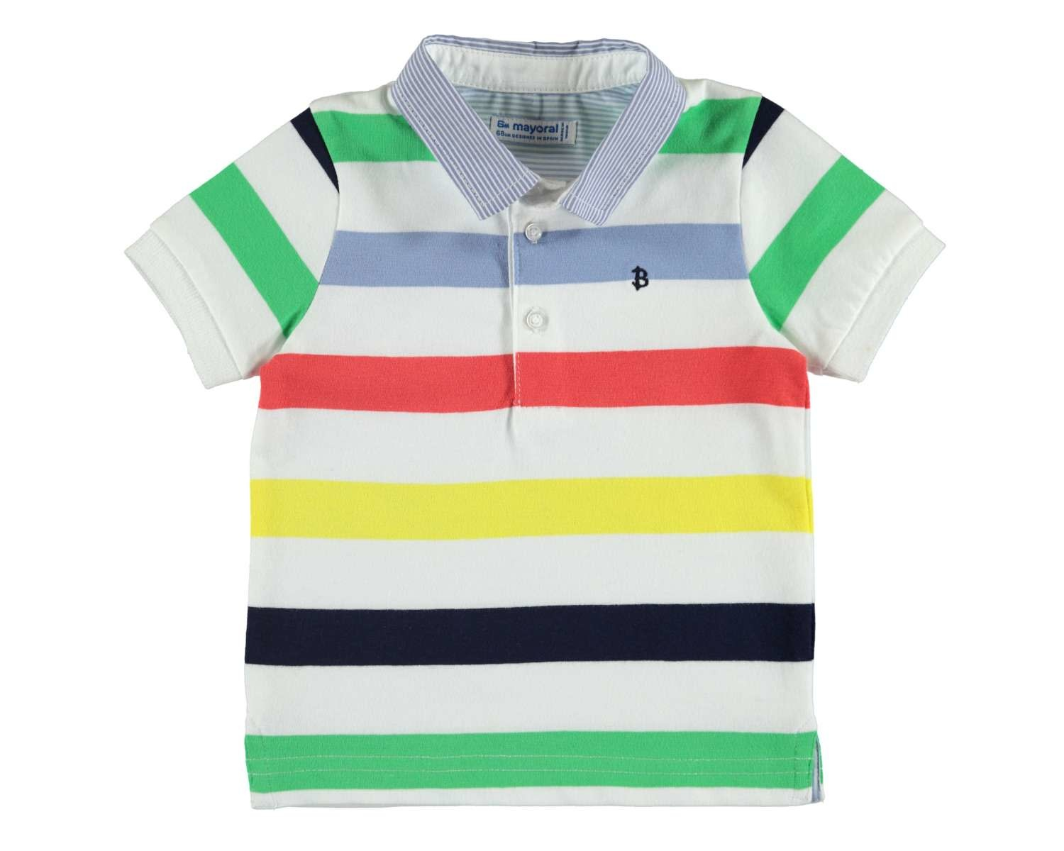 070dd684 Mayoral - Striped Polo Shirt, Celery - Charlotte et Charlie