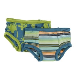 Kickee Pants Kickee Pants -  Set of 2 Training Pants, Seagrass Cactus & Cancun Glass Stripe