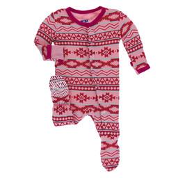 Kickee Pants Kickee Pants - Pyjama à Pattes, Strawberry Mayan Pattern