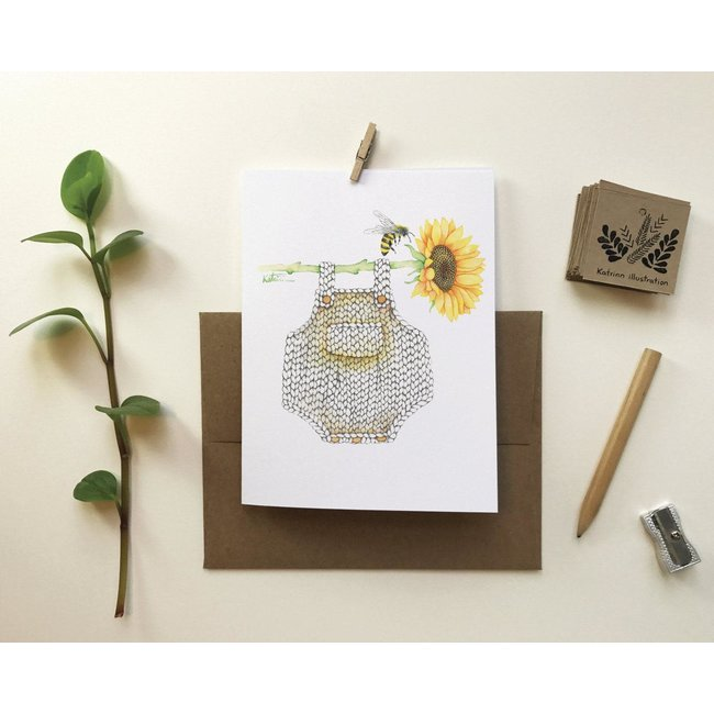 Katrinn Pelletier Illustration Katrinn Pelletier - Greeting Card, Romper and Sunflower