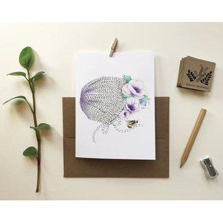 Katrinn Pelletier Illustration Katrinn Pelletier - Carte de Souhaits, Bonnet et Anémones