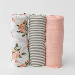 Little Unicorn Little Unicorn - Cotton Muslin Swaddle 3 Pack, Rose Bouquet