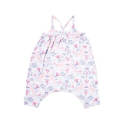 Angel Dear Angel Dear - Muslin Romper with Bow, Unicorn Damask
