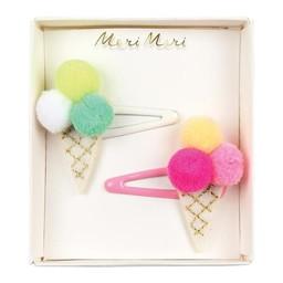 Meri Meri Meri Meri - Pompom Hair Clips, Ice Cream