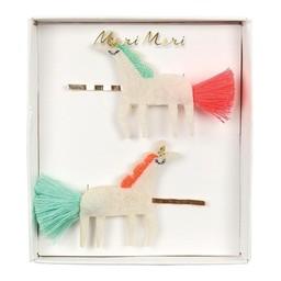 Meri Meri Meri Meri - Embroidered Hair Slides, Unicorns with Tails
