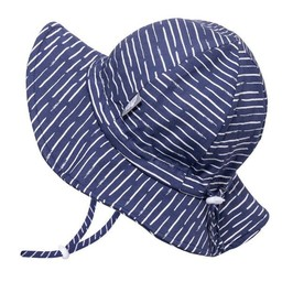 Jan & Jul Jan & Jul - Grow With Me Cotton Sun Hat, Navy with Waves