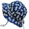 Jan & Jul Jan & Jul - Chapeau Soleil Ajustable en Coton/Grow With Me Cotton Sun Hat, Marine avec Ananas/Navy with Pineapples
